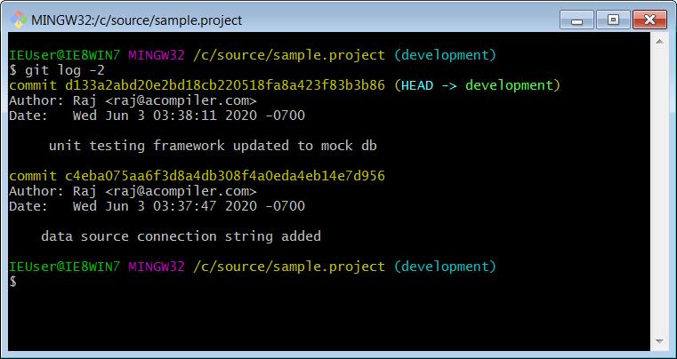 Git log command to view few recent commits