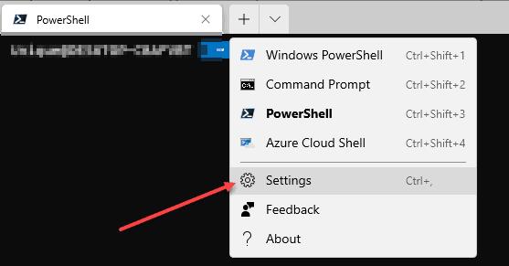 Windows Terminal Settings Menu to Run Git in PowerShell